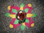 Paper Rangoli with diya created by my mom
